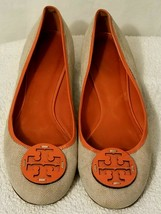 Gorgeous TORY BURCH Ballet Flats Beige Linen & Orange Leather Logo Shoes 10 - $74.24