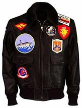 Maverick Top Gun Aviator Pilot Tom Cruise Fur Collar Brown Bomber Leather Jacket image 1