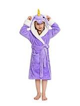 NEWCOSPLAY Unisex Kids Unicorn Plush and Soft Fleece Bathrobe 5-7 Years, Purple