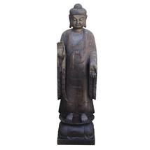 Chinese Dark Gray Stone Carved Standing Abhaya Mudra Buddha Statue cs4271 - $2,580.00