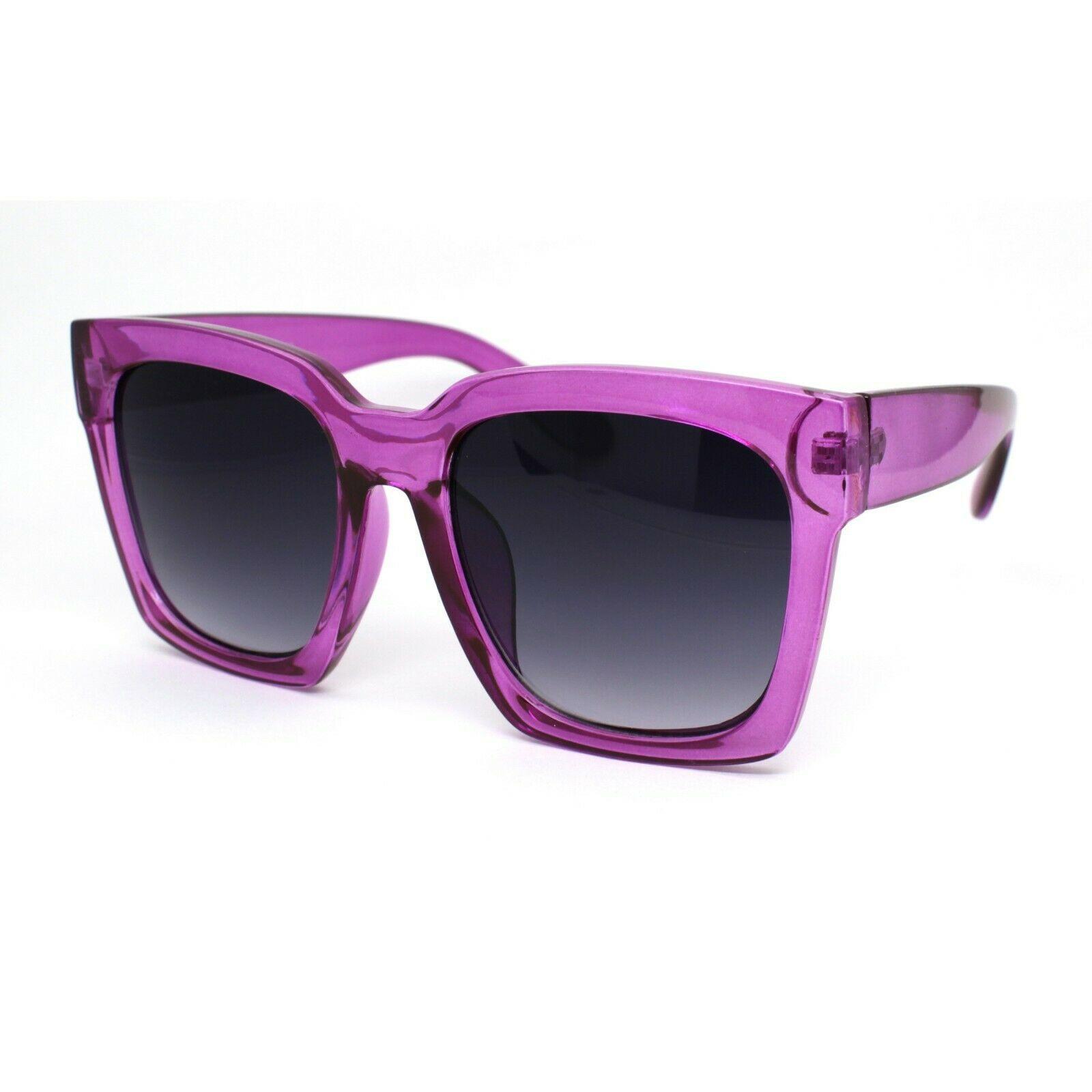 Womens XL Oversize Horned Rim Thick Plastic Retro Sunglasses