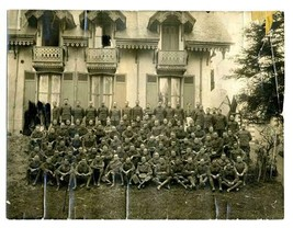 World War One Military Group Photo In Front of Large Fancy House - $37.72