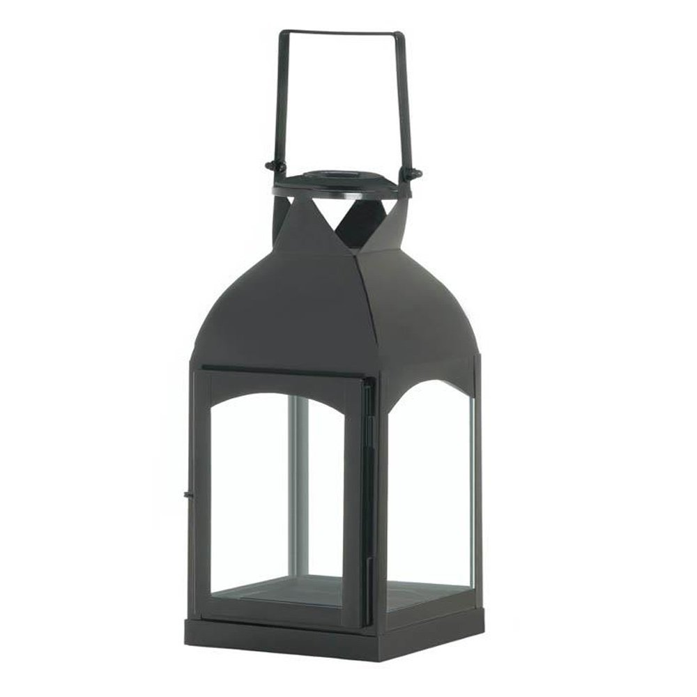 Candle Lantern, Medium Domed Black Outdoor Hanging Rustic Metal Candle Lantern