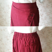 Women Wide Leg Linen Cotton Pants Long Wrap Pants Trousers Casual Pants Burgundy image 5
