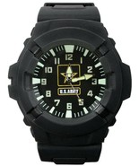 US Army Black Tactical Field Watch Water Resistant Rubber Quartz Militar... - $32.00