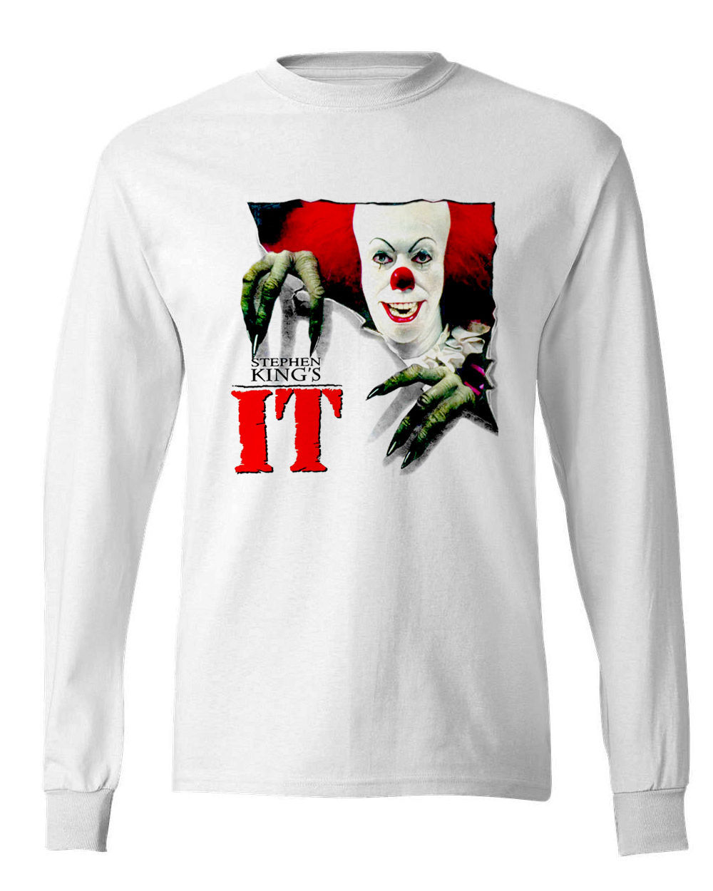 Stephen king it t shirt long sleeve white graphic tee cujo retro 80 s horror for sale online