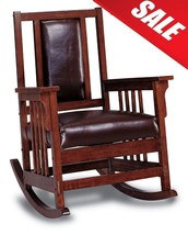 Rocking Chair Antique Solid Wood Oak Vintage Mission Style Leather Seat ... - €220,99 EUR