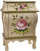 Nearly L 7012 Antique Night Stand W/Floral Art Nightstand, Beige/Pink/Gold - $9,999.00