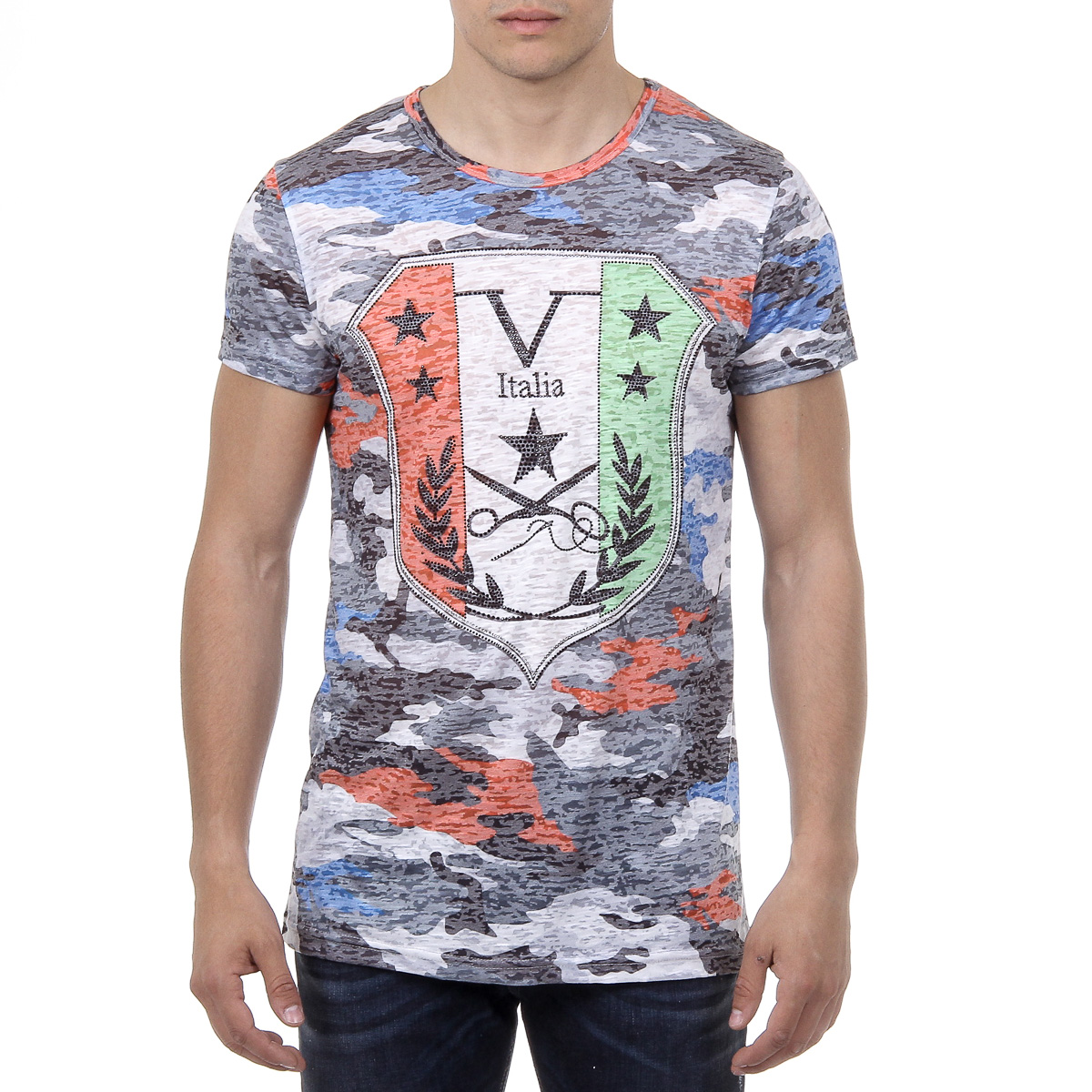Primary image for V 1969 Italia Mens T-shirt Short Sleeves Round Neck Multicolor OWEN