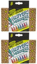 2 Set Di 8 Crayola 588618 Arte Con Bordo Glitter Marcatori Nuovo IN Scatola