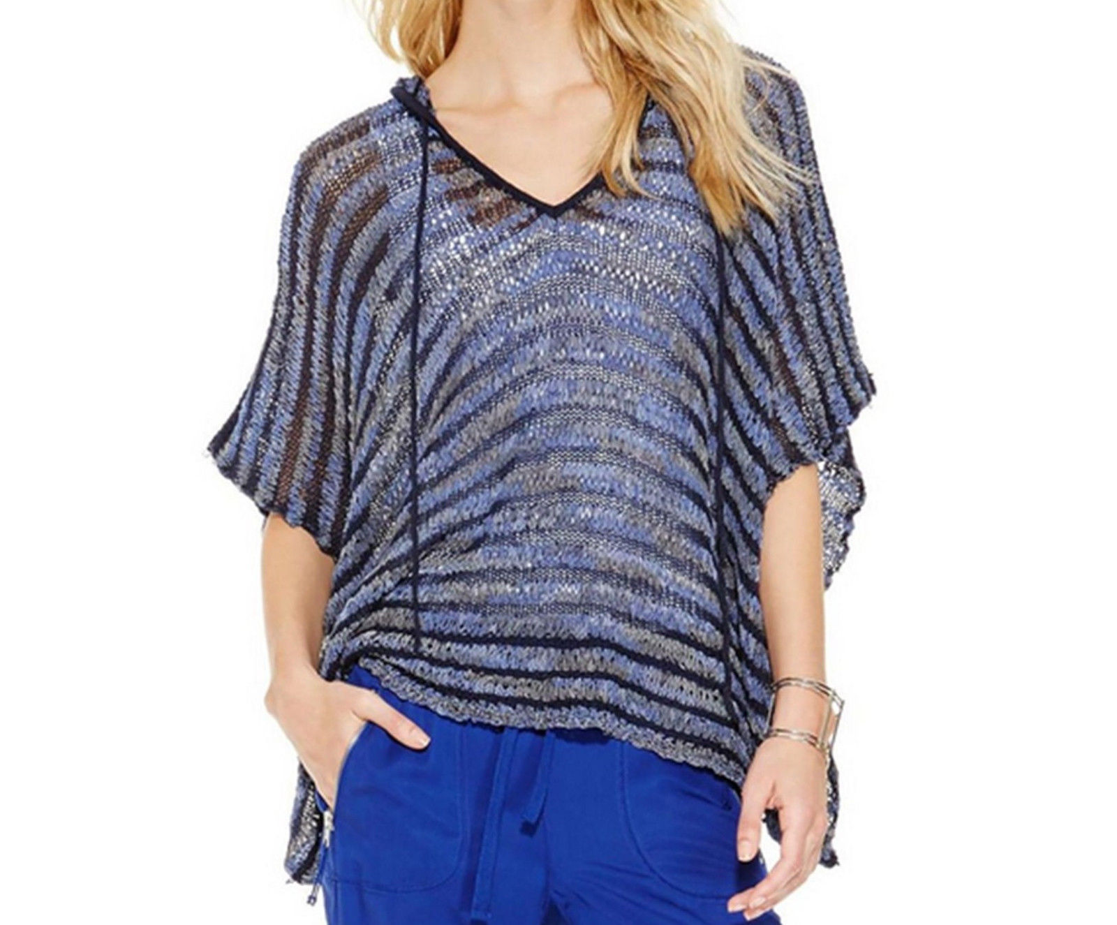 INC International Concepts Women Knit Hooded Poncho Top Blue S/M