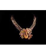 Vintage Dramatic peacock necklace - rhinestone brooch - statement neckla... - $120.00