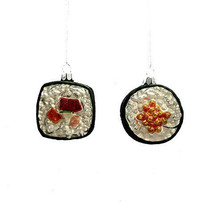 Darice Christmas Glass Ornament: Sushi Roll, 2 x 2.25 inches, 2 Assorted... - $7.99