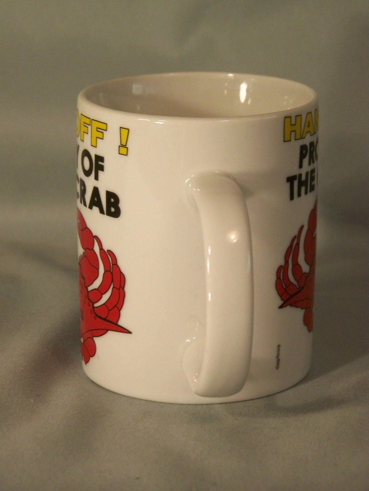 "HANDS OFF! Property Of The Old Crab coffee cup approx 3.8"" tall Ocean Shores, WA image 4"