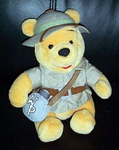 "Disney World Winnie Pooh Plush 8"" Safari Bear in Jacket & Hat with WP Canteen - $7.89"