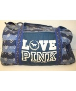 Victoria's Secret LOVE PINK Blue Quilted Weekender Carry-on Luggage Trav... - $74.95