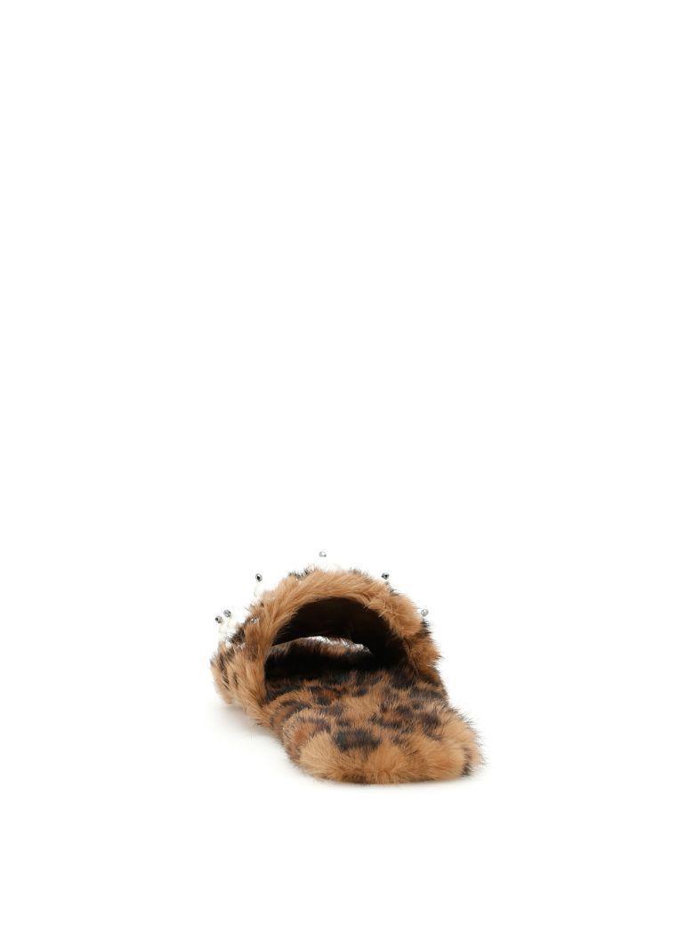Miu Miu Pearly Fur Slide Sandals, Leopard Size 38 MSRP: $990.00