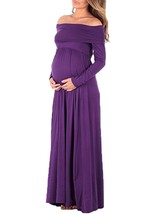 Maternity Dress Solid Color Off Shoulder Elegant Pleated Maxi Dress - $27.99