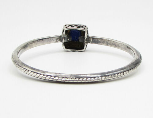 925 Silver - Vintage Leveled Twisted Ropes Framed Lapis Bangle Bracelet - B1378 image 4