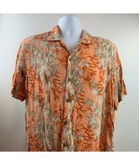 Hayana Jack's Cafe Button Front Men Casual Shirt Sz L Floral Peach Hawai... - $19.77