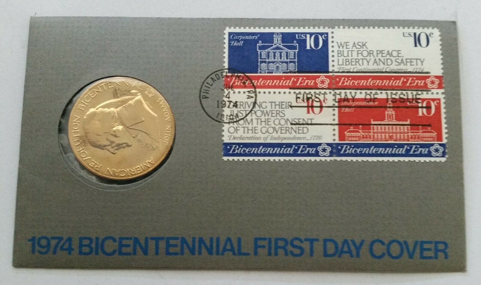 Primary image for 1974 John Adams Bicentennial First Day Cover Stamps with Bronze Coin