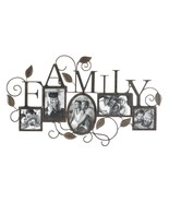 FAMILY Photo Wall Frame 5 Picture Display Rustic Metal Leaf Design - $37.98
