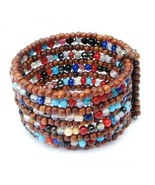 Wide Cuff Bracelet Hand Beaded Wood & Colorful Glass Beads Memory Wire J... - $8.91