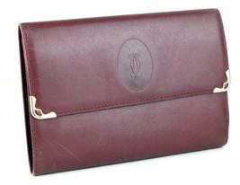 Auth Cartier Paris Logos Portefeuille Bordeaux Leather Trifold Wallet Pu... - $127.71