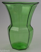 "Large Green Glass Flower Vase Panel Design 9.75"" T Collectible Home Deco... - $19.99"