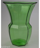 """Large Green Glass Flower Vase Panel Design 9.75"""" T Collectible Home Deco... - $19.99"""