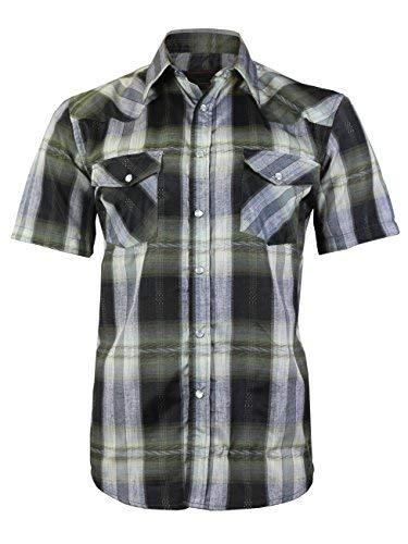 LW Men's Western Cowboy Pearl Snap Short Sleeve Rodeo Dress Shirt LW126S (XL, 10