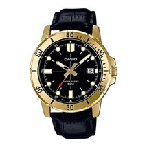 Casio MTP-VD01GL-1EV Men's Enticer Gold Tone Leather Band Black Dial Casual - $55.32