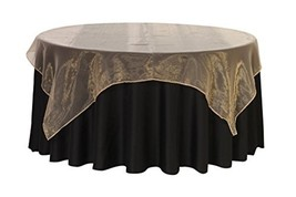 Your Chair Covers - 72 inch Square Organza Table Overlay Champagne, Ligh... - $10.15
