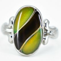 Oval & Ribbon Shaped Multi-Color Changing Contrasting Silver Painted Mood Ring image 4