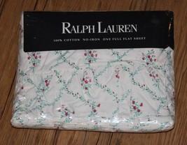 Ralph Lauren Sundress Floral Cottage Lane Full Flat 100% Cotton Sheet Br... - $71.24