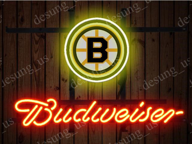 """New Budweiser Boston Bruins Beer Neon Sign 19""""x15"""" Ship From USA"""