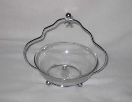 Neat Mid Century Metal Basket For Glass Dip Bowl - $38.52