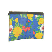 MCM Flower Pattern Clutch Bag Blue PVC Leather Novelty Auth ar1779 - $99.00