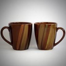 Sango Avanti Brown Coffee Cup Mug 4722 Set 2 Stoneware Stripes On Sand R... - $25.69