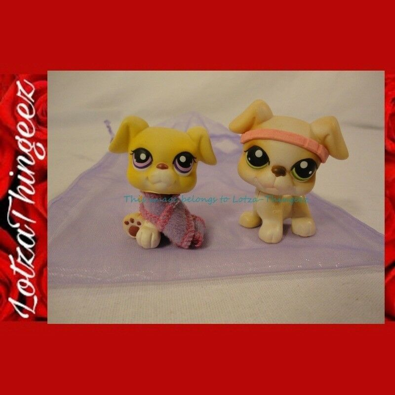LPS Littlest Pet Shop Lot of 2 Boxer Puppies Green/Purple Eyes 235 451 GIFT Bag