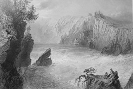 CANADA Split Rock on St. John River - BARTLETT Antique Print Engraving - $11.09