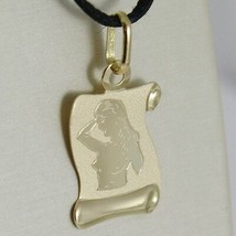 18K YELLOW GOLD ZODIAC SIGN MEDAL, VIRGO PARCHMENT ENGRAVABLE MADE IN ITALY image 2