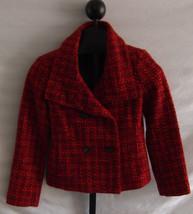 Talbots Red Orange Black & Pink Boucle Jacket Petites Size 4P Wool Blend - $51.48