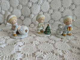 Homco Ceramic Christmas Figures Set of 3 Vintage - $9.69