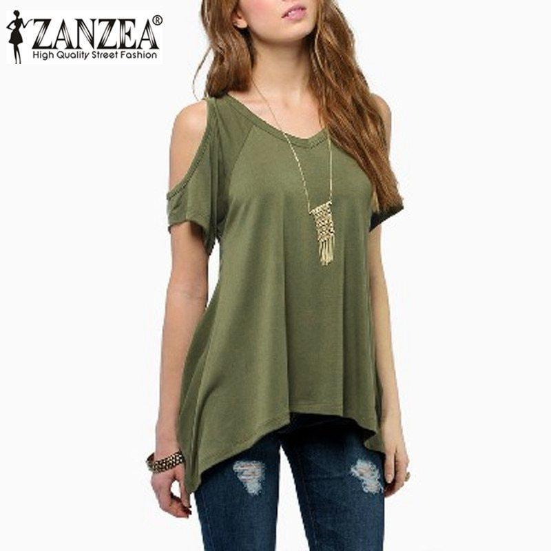 4 Colors ZANZEA Summer 2018 Women Off Shoulder Round Neck Short Sleeve Blouses C
