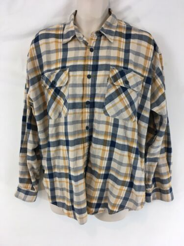 Levis Mens L Blue Yellow Plaid Hiking Camp Lightweight Cotton Flannel Shirt image 2
