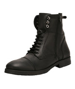 LibertyZeno Men's Genuine Leather Lace Up Ankle Length Casual Boots- L-1095Black - $64.99