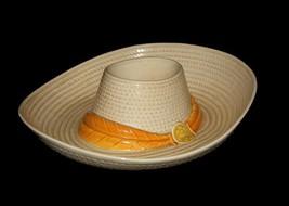 HUGE Vtg Metlox Calif Realistic Cowboy Hat Chip & Dip Bowl USA Pristine Unused - $39.99