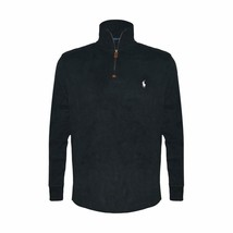 Polo Ralph Lauren Mens Half-Zip Pima Cotton Sweater, Black/White Pony, L, 3478-8 - $67.31