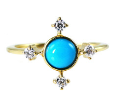 0.59 Carat Aaa Quality Turquoise And Diamond Ring In 14k Yellow Gold (21... - $326.70